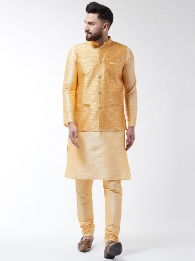Sojanya (Since 1958) Men's Silk Blend Gold Kurta Pyjama & Mustard Nehrujacket