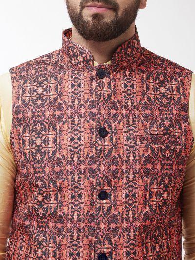 Sojanya (Since 1958), Men's Silk Blend Gold Kurta With Pyjama & Black Printed Nehrujacket Combo