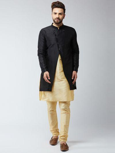Sojanya (Since 1958), Men's Silk Blend Gold Kurta Churidaar Pyjama & Black Sherwani Jacket Set