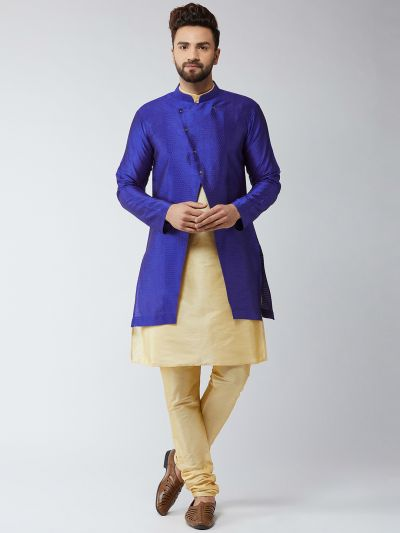 Sojanya (Since 1958), Men's Silk Blend Gold Kurta Churidaar Pyjama & Royal Blue Sherwani Jacket Set