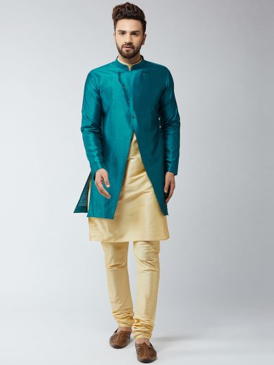 Sojanya (Since 1958), Men's Silk Blend Gold Kurta Churidaar Pyjama & Peacock Sherwani Jacket Set
