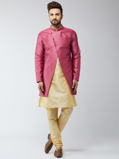 Sojanya (Since 1958), Men's Silk Blend Gold Kurta Churidaar Pyjama & Pink Sherwani Jacket Set