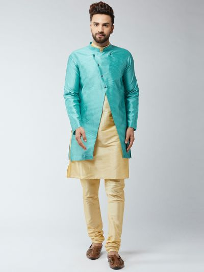 Sojanya (Since 1958), Men's Silk Blend Gold Kurta Churidaar Pyjama & Sky Blue Sherwani Jacket Set