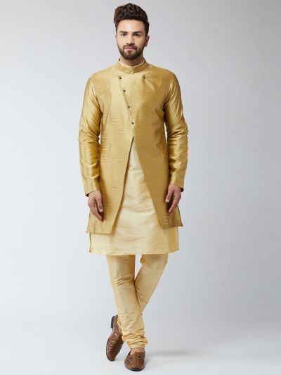 Sojanya (Since 1958), Men's Silk Blend Gold Kurta Churidaar Pyjama & Gold Sherwani Jacket Set