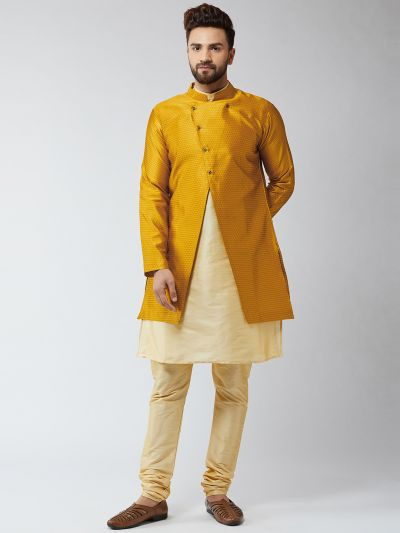 Sojanya (Since 1958), Men's Silk Blend Gold Kurta Churidaar Pyjama & Mustard Sherwani Jacket Set