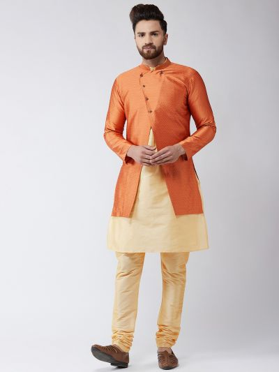 Sojanya (Since 1958), Men's Silk Blend Gold Kurta Churidaar Pyjama & Peach Sherwani Jacket Set