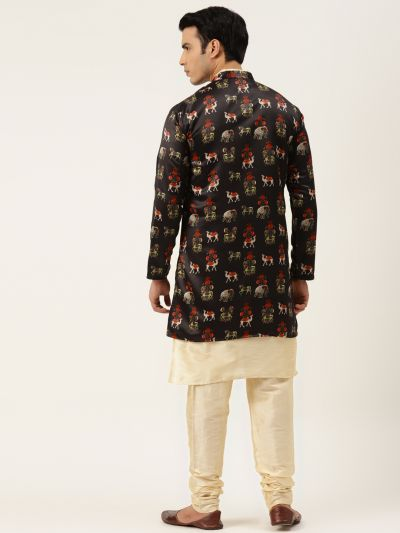 Sojanya (Since 1958), Men's Silk Blend Gold Kurta Pyjama & Black Sherwani Set