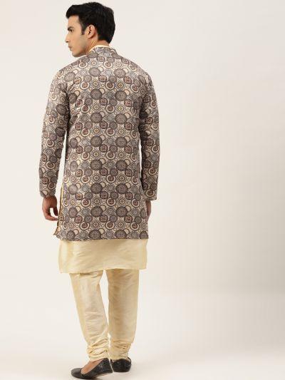 Sojanya (Since 1958), Men's Silk Blend Gold Kurta Pyjama & Beige Sherwani Set