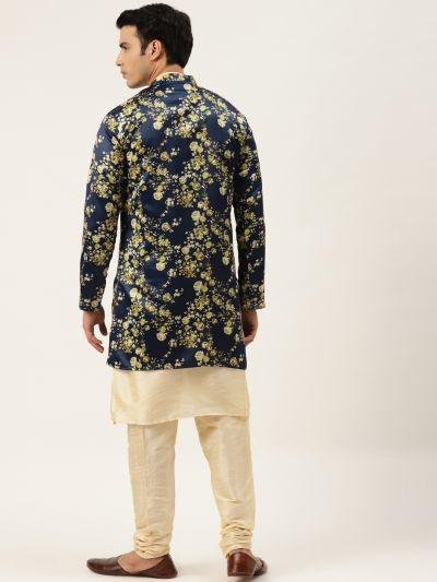 Sojanya (Since 1958), Men's Silk Blend Gold Kurta Pyjama & Navy Sherwani Set