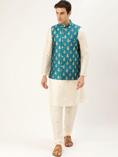 Sojanya (Since 1958) Men's Silk Blend Off White Kurta Pyjama & Teal Blue Nehrujacket Combo