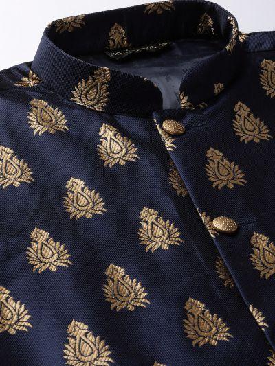Sojanya (Since 1958) Men's Silk Blend Off White Kurta Pyjama & Navy Blue Nehrujacket Combo