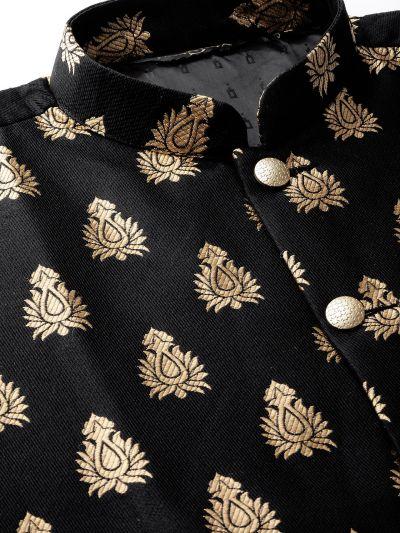 Sojanya (Since 1958) Men's Silk Blend Off White Kurta Pyjama & Black Nehrujacket Combo
