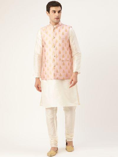Sojanya (Since 1958) Men's Silk Blend Off White Kurta Pyjama & Pink Nehrujacket Combo