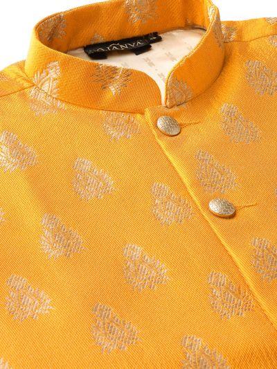 Sojanya (Since 1958) Men's Silk Blend Off White Kurta Pyjama & Mustard Nehrujacket Combo