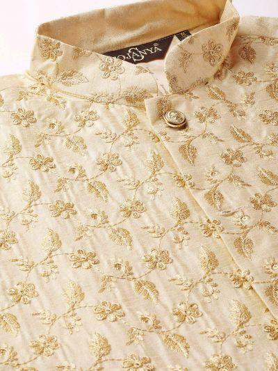 Sojanya (Since 1958) Men's Silk Blend OffWhite Kurta Pyjama & Beige Nehrujacket Combo