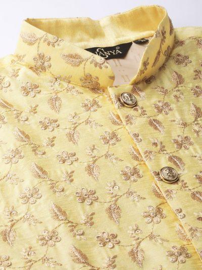 Sojanya (Since 1958) Men's Silk Blend OffWhite Kurta Pyjama & LemonYellow Nehrujacket Combo