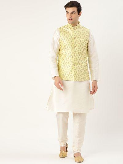 Sojanya (Since 1958) Men's Silk Blend OffWhite Kurta Pyjama & LimeGreen Nehrujacket Combo