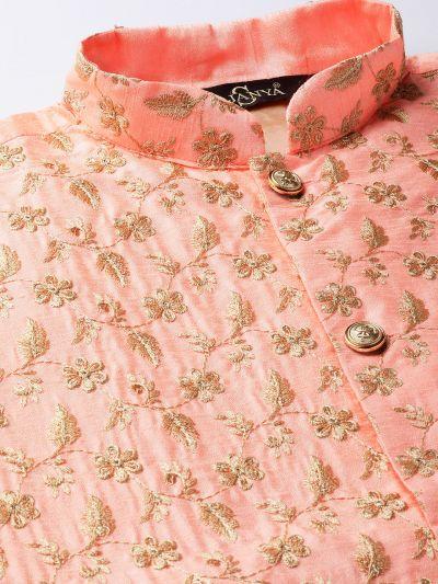 Sojanya (Since 1958) Men's Silk Blend OffWhite Kurta Pyjama & Peach Nehrujacket Combo