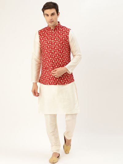 Sojanya (Since 1958) Men's Silk Blend OffWhite Kurta Pyjama & Red Nehrujacket Combo