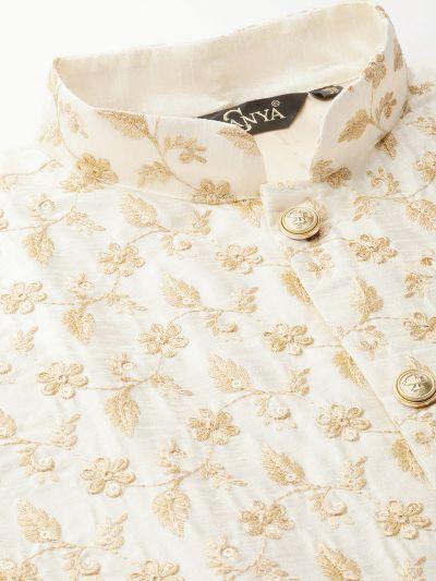 Sojanya (Since 1958) Men's Silk Blend OffWhite Kurta Pyjama & Cream Nehrujacket Combo