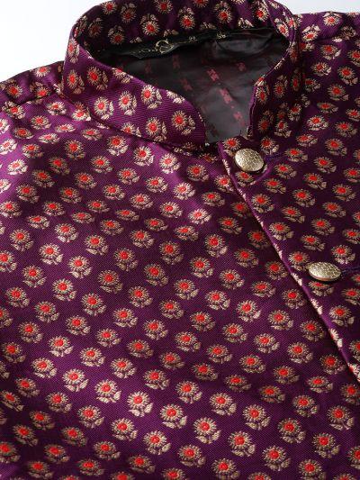 Sojanya (Since 1958) Men's Silk Blend Off White Kurta Pyjama & Wine Nehrujacket Combo