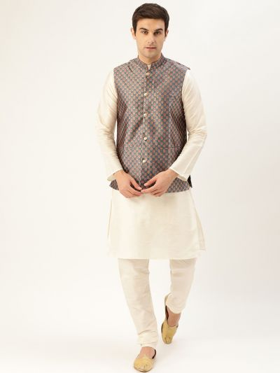Sojanya (Since 1958) Men's Silk Blend Off White Kurta Pyjama & Charcoal Grey Nehrujacket Combo