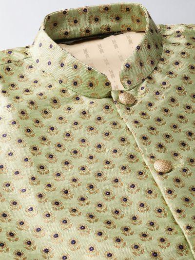 Sojanya (Since 1958) Men's Silk Blend Off White Kurta Pyjama & Pista Green Nehrujacket Combo