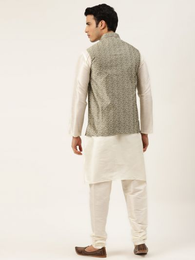Sojanya (Since 1958) Men's Silk Blend Off White Kurta Pyjama & Gold Nehrujacket Combo