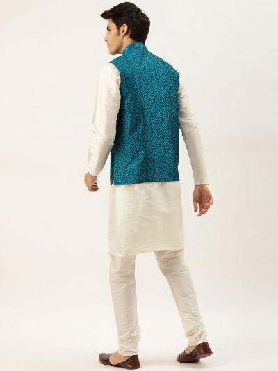 Sojanya (Since 1958) Men's Silk Blend Off White Kurta Pyjama & TealBlue Nehrujacket Combo