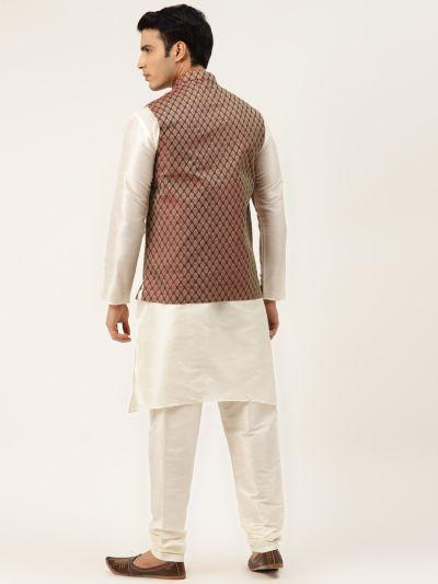 Sojanya (Since 1958) Men's Silk Blend Off White Kurta Pyjama & Maroon Nehrujacket Combo
