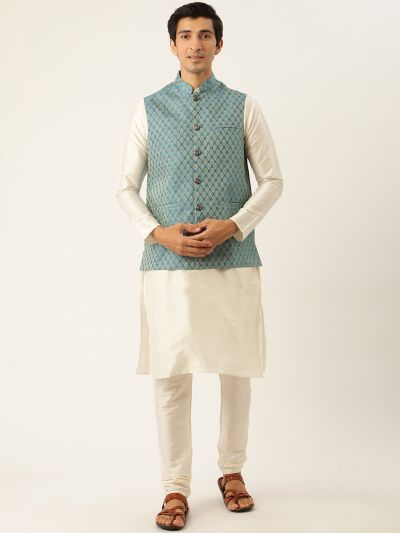 Sojanya (Since 1958) Men's Silk Blend Off White Kurta Pyjama & PeacockBlue Nehrujacket Combo