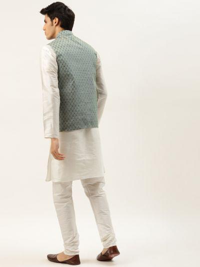 Sojanya (Since 1958) Men's Silk Blend Off White Kurta Pyjama & Teal Green Nehrujacket Combo