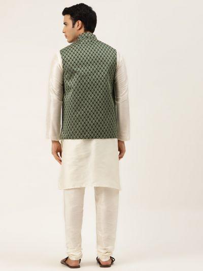 Sojanya (Since 1958) Men's Silk Blend Off White Kurta Pyjama & Dark Green Nehrujacket Combo