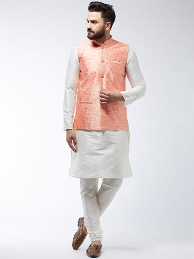 Sojanya (Since 1958) Men's Silk Blend OffWhite Kurta Pyjama & Peach Nehrujacket Combo