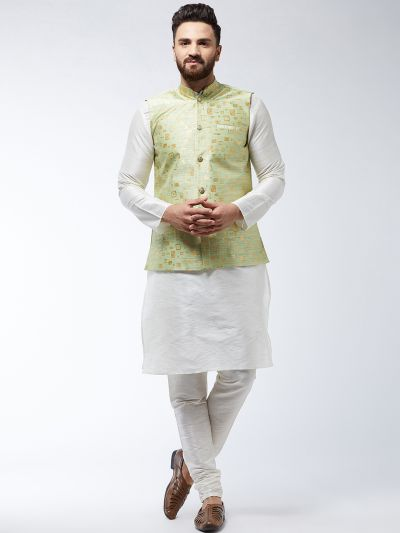 Sojanya (Since 1958) Men's Silk Blend OffWhite Kurta Pyjama & Green Nehrujacket Combo