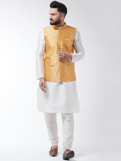 Sojanya (Since 1958) Men's Silk Blend Off White Kurta Pyjama & Mustard Nehrujacket