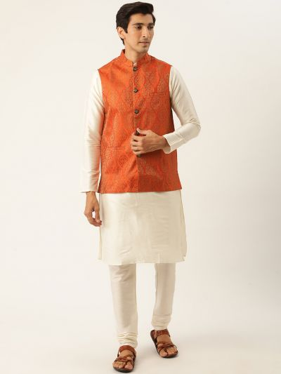 Sojanya (Since 1958) Men's Silk Blend Off White Kurta Pyjama & Orange Nehrujacket Combo