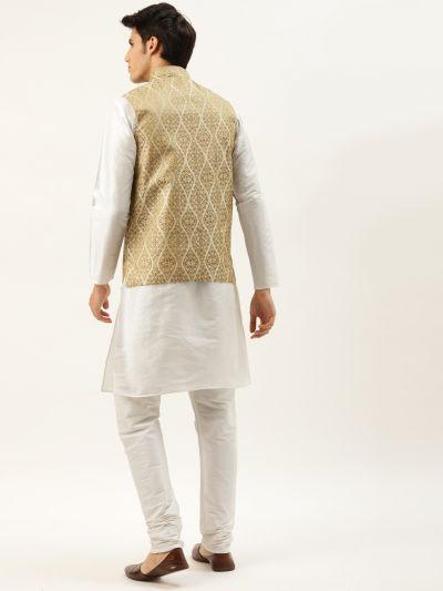 Sojanya (Since 1958) Men's Silk Blend Off White Kurta Pyjama & Beige Nehrujacket Combo