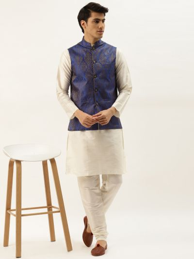 Sojanya (Since 1958) Men's Silk Blend Off White Kurta Pyjama & Blue Nehrujacket Combo