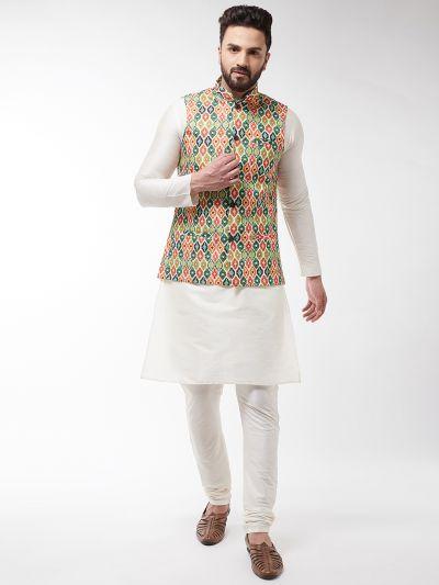 Sojanya (Since 1958), Men's Silk Blend OffWhite Kurta With Pyjama & Green Printed Nehrujacket Combo