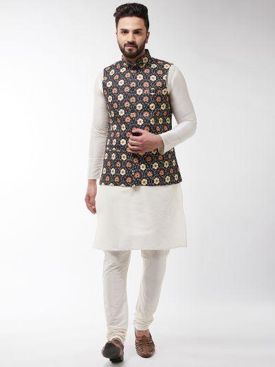 Sojanya (Since 1958), Men's Silk Blend OffWhite Kurta With Pyjama & Black Printed Nehrujacket Combo