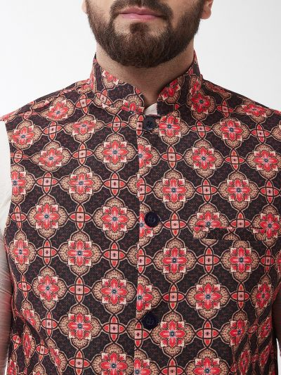 Sojanya (Since 1958), Men's Silk Blend OffWhite Kurta With Pyjama & Brown Printed Nehrujacket Combo