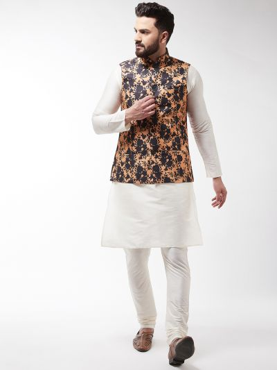 Sojanya (Since 1958), Men's Silk Blend OffWhite Kurta With Pyjama & Peach Printed Nehrujacket Combo