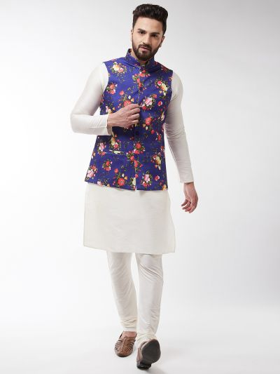 Sojanya (Since 1958), Men's Silk Blend OffWhite Kurta With Pyjama & Blue Printed Nehrujacket Combo