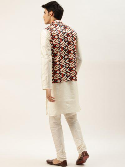 Sojanya (Since 1958) Men's Silk Blend Off White Kurta Pyjama & Cream Nehrujacket Combo