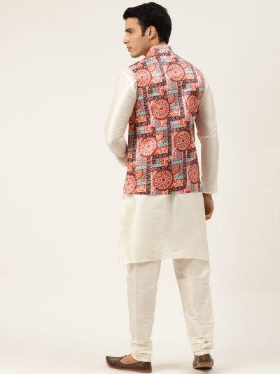 Sojanya (Since 1958) Men's Silk Blend Off White Kurta Pyjama & Peach Nehrujacket Combo