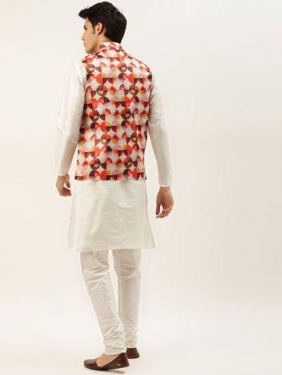Sojanya (Since 1958) Men's Silk Blend Off White Kurta Pyjama & Off White Nehrujacket Combo