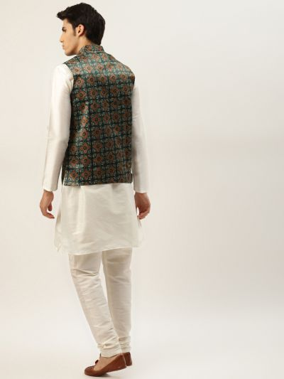 Sojanya (Since 1958) Men's Silk Blend Off White Kurta Pyjama & Bottle Green Nehrujacket Combo