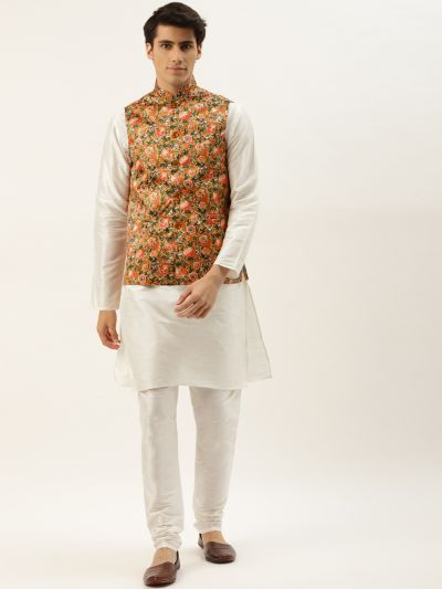 Sojanya (Since 1958) Men's Silk Blend Off White Kurta Pyjama & Tan Nehrujacket Combo