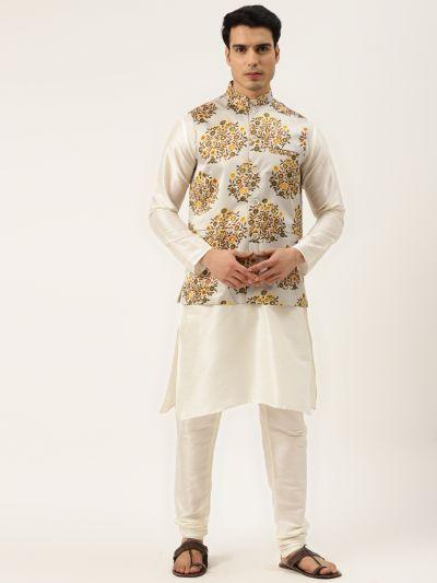 Sojanya (Since 1958) Men's Silk Blend Off White Kurta Pyjama & LightGrey Nehrujacket Combo